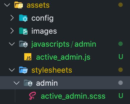 active_admin.scssとactive_admin.jsをそれぞれadminというフォルダの中に格納